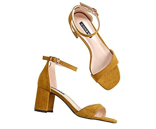 Wealsex damen sandalen blockabsatz high heels mit Schnalle Gelb R