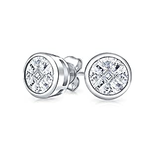Bling Jewelry Argent Sterling Invisible coupe CZ boucles goujon 9mm