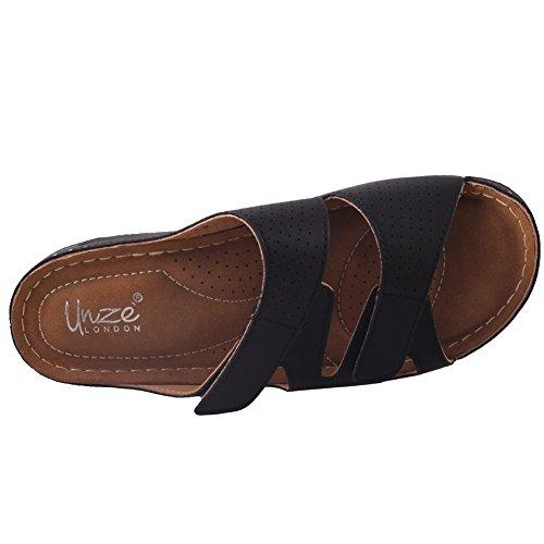 Unze Womens ' Nuby ' pantofole comode per camminare Nero