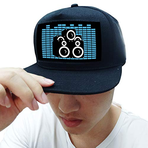 WEISY LED Baseball Cap Aktiviert Sound Glow In Dark, Leuchtender Hut für Fancy Dress Dance Halloween Cosplay