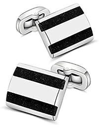 Gemstone Cufflinks, Mr.Van Rectangle Navy Blue Sand Crystal Wedding Cuff links for Men Lover Friends Wedding Anniversaries Birthdays
