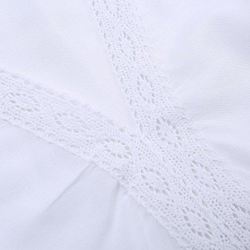 Minetom Damen Sexy Sommerkleider Strandkleid V-Ausschnitt Lose Beachwear Minikleider One-Size Oberteile Bluse Transparent Weiß