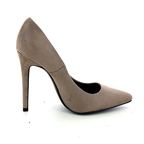 Escarpins stiletto en suédine bout pointu - Talon 11 cm Beige