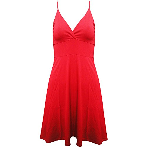 Neuf Pour Femmes Cami À Bretelles Swing Court Mini-jupe Patineuse Robe Évasée Haut Grande Taille Red - Stretch Stretchy Mini Dress Speghetti Top