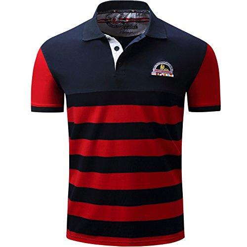 LEOCLOTHO Polo para Hombre Manga Corta Casual Contrast Collar Algodón Golf Tennis Camiseta A Rayas Rojo XL