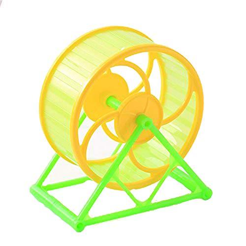 OTENGD Hamster-Übungs-Rad-Stand stilles laufendes Spinner-Spielzeug-Komfort-Farben können für Hamster-Meerschweinchen-Haustier-kleine Tier-Gelbgrün-Unterseite variieren (Sturm Bettwäsche)