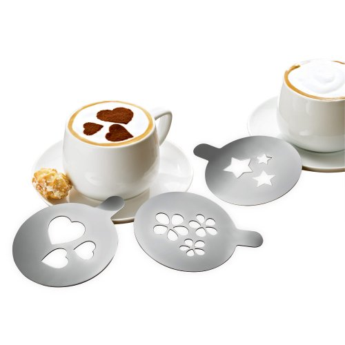 Tchibo Cappuccino Schablonen 3er Set aus Edelstahl zum Dekorieren (3 Motive: Herz, Stern, Blume) - Stern-schablonen