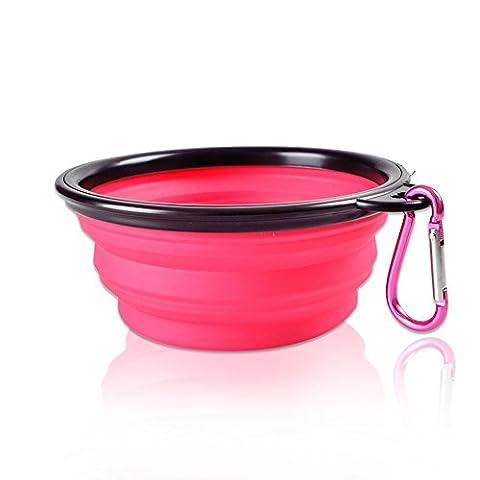 extensible pliable pour animal domestique Bol de chien chiot pliable Nourriture et eau Feeder avec escalade Bouton Mousqueton pour voyage en plein air