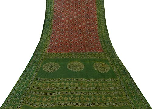 Sari Aus Reiner Seide (Vintageandyou Damast saree Saree aus reiner Seide kastanienbraun saree indisches Handwerk bedruckter Sari-Stoff 100% Seide)