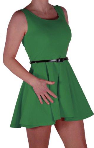 EyeCatch - Robe patineuse sans manches avec ceinture - Femme Jade Vert