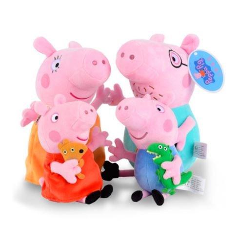 Peppa Pig - 4 Peluches Set Familia 30cm George Peppa Papa Mama Figuras Muñecos