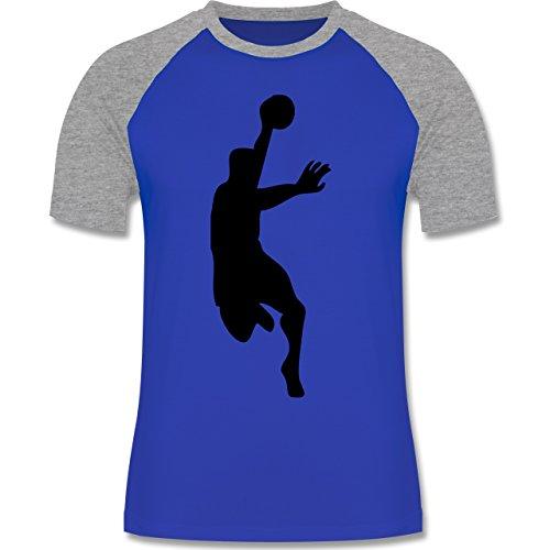 Handball - Handball - zweifarbiges Baseballshirt für Männer Royalblau/Grau meliert