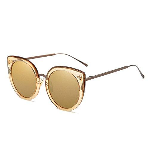 RLJJSH Sonnenbrillen verzierte Vintage Runde Sonnenbrillen Trend Große Runde Brille Sonnenbrillen Sonnenbrille (Farbe : Gold)