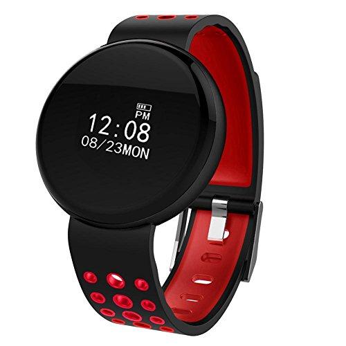 BEBIG Fitness Trackers, Waterproof Bluetooth Blood Pressure Heart Rate Monitor Smart Watch (Red)