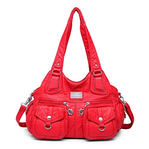 Frauen Tasche Top-Handle Handtasche Dumpling Pack Tasche PU Umhängetasche Casual Taschen Handtaschen Red 35cmX12cmX30cm -