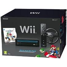 Nintendo Wii Console (Black) with Mario Kart Wii: Includes Wii Wheel and Wii Remote Plus [Importación inglesa]