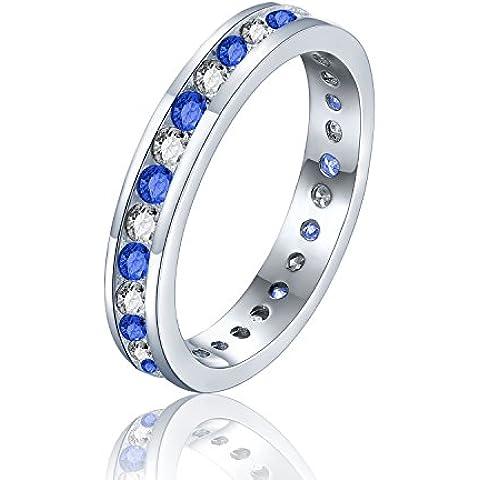 Brillante rotondo–Anello eternity Anello Eternity con diamanti stile–Full Eternity in argento Sterling Finitura platino–Misure–T