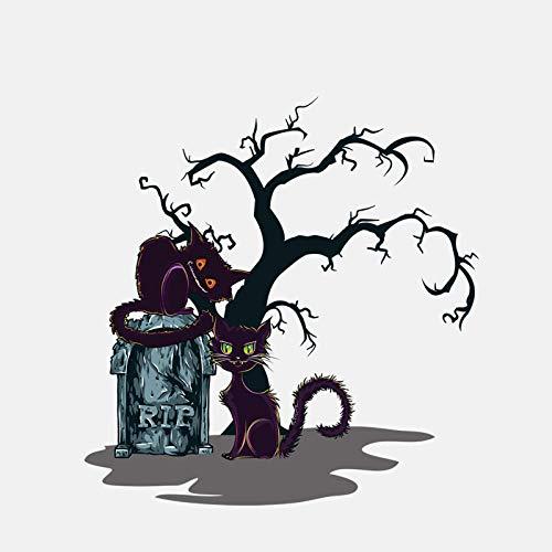 ufkleber Sonnencreme Reflektierende Auto Aufkleber 16 5 cm * 16 9 cm Halloween Schwarze Katze Friedhof PVC Auto Aufkleber 5 ()