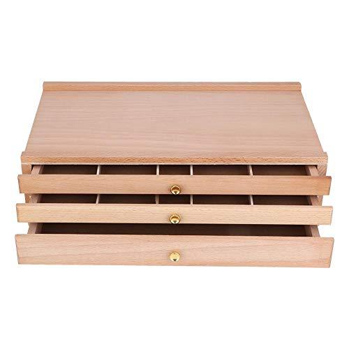 FTVOGUE 3 Schublade Holzkünstlerbedarf Aufbewahrungsbox Künstlerfarbe Kunstkoffer für Pastelle Bleistifte Stifte Marker Pinsel -