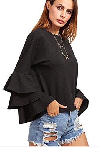 Frauen Elegant Langarm - Ärmel Sommer T - Shirt Blusen. Black