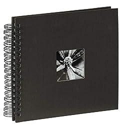 Hama Fotoalbum, 28 x 24 cm, 50 schwarze Seiten, 25 Blatt, mit Ausschnitt für Bildeinschub, Fotobuch schwarz