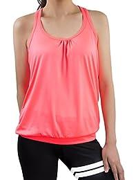 iPretty Sport tank tops Mujer camisetas deportivas sueltos y elásticos Mujer camisetas sin mangas deportivos mujer chaleco Fitness para correr