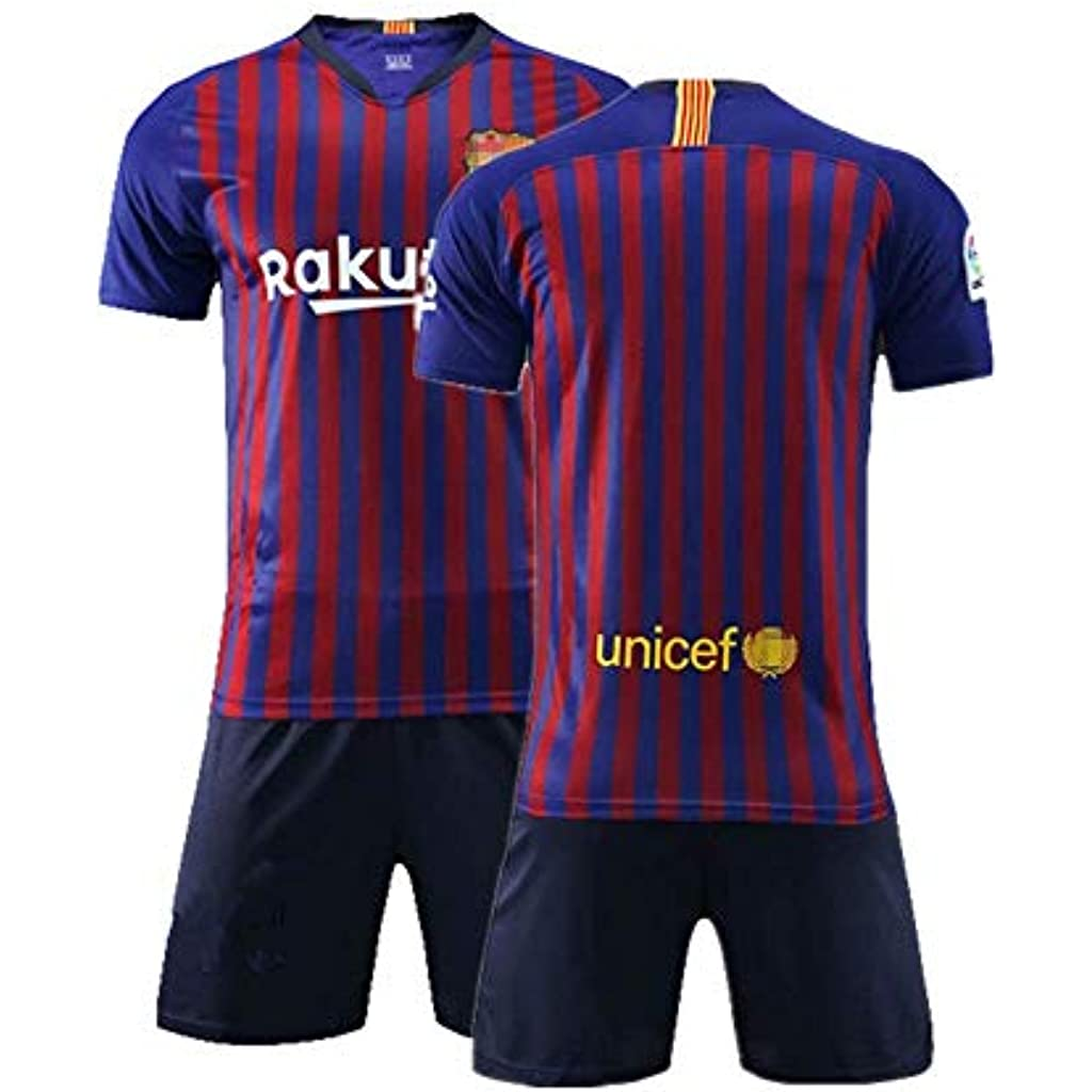 b13e84da6aa14 Daoseng Camiseta Jersey Futbol Barcelona 2018-2019 Traje de niños Manga  Corta + Pantalones Cortos (Azul
