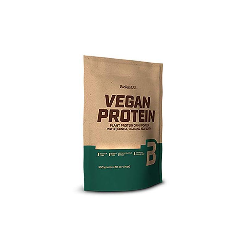 BioTechUSA Vegan Protein Flavoured Plant Protein Drink Powder with Goji and acai Berry Powder and Quinoa Flour, 500 g…
