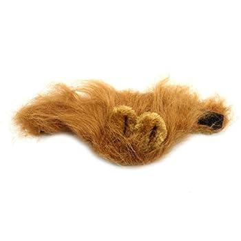 Rameng Costume de Lion Pour Petit Chien Chats Chapeau Crinière Déguisement Mane Cheveux Perruque (Marron)