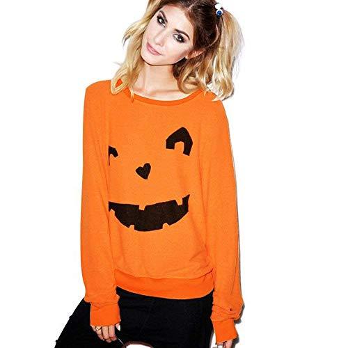 ZHRUI Womens Halloween Cute Kürbis Print Langarm Sweatshirt Pullover Tops Shirt (Farbe : Orange2, Größe : ()