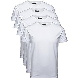 JACK & JONES T-Shirt 4er Pack Uni oder Mehrfarbig Herren Basic Shirt O-Neck Rundhals Slim Fit