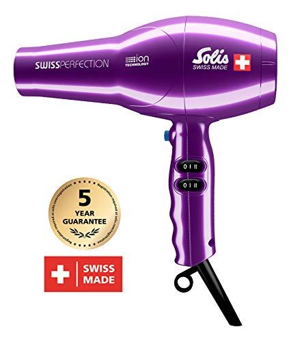 Solis Profi-Haarföhn, 3 Temperatur- und Gebläsestufen, Kaltluft-Taste, AC-Motor, 2300 Watt, Ionen-Technologie, Swiss Perfection (Typ 440), Violett -