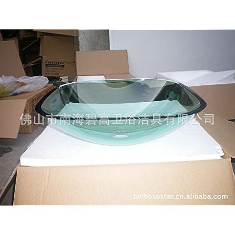 Il vetro temprato Vasca Lavello e rubinetto miscelatore tocca,8.18 verde della ciotola di vetro quadrata bacino di vetro rotondo in vetro colorato lavabo Vasca in vetro