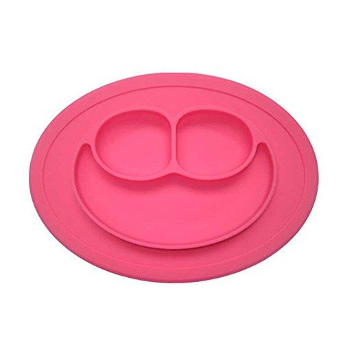 Preisvergleich Produktbild Silikon Kinder Tischset mit FDA zugelassen, BPA frei, FLYING_WE Silikon Tischsets, Passend für die meisten Hochstuhl Trays, Spülmaschine, Mikrowelle und Backofen Safe.rosa