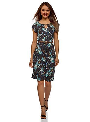 oodji Collection Damen Bedrucktes Kleid mit Gürtel, Schwarz, DE 40 / EU 42 / L -