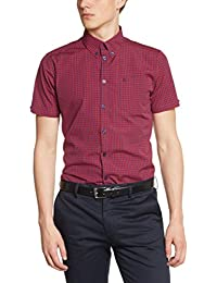 Merc of London Merc - Camisa de manga corta con cuello con botones para hombre
