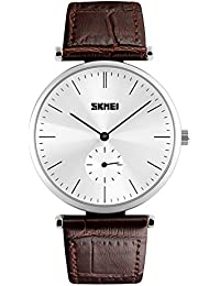 Naivo Men's Quartz Stainless Steel and Leather Color:Brown (Model: WATCH-1162)