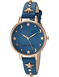 e1b0da89f866 Nine West Women s NW 2126RGBL Star Accented Rose Gold-Tone and Blue Strap  Watch