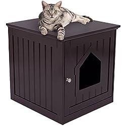 Casa para gato y mesa auxiliar, 2 en 1, 49x 51x 51cm, madera, con arenero