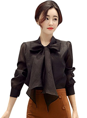 Azbro Women's Fashion Bow Tie Collar Long Sleeve Solid Blouse Black