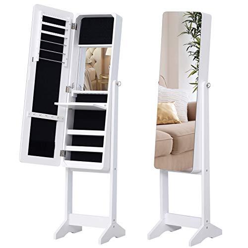 Preisvergleich Produktbild HOMCOM LED Schmuckschrank mit Innenspiegel Spiegelschrank klappbare Ablage Standspiegel verstellbar Weiß 146 cm hoch