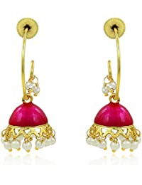 Spargz Tribal Style Pink Color Jhumki EarringsPearl Dangler Earrings For Women AIER 600