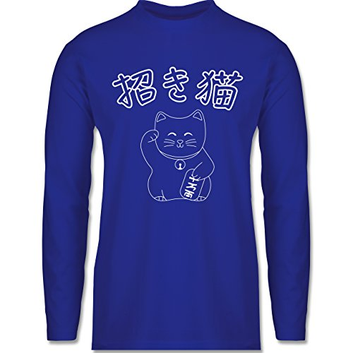 Shirtracer Katzen - Winkekatze- Japanisch - Herren Langarmshirt Royalblau
