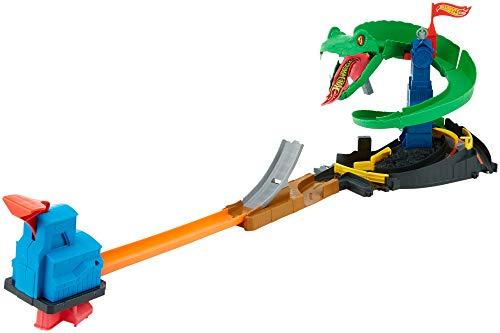 Hot Wheels FNB20 - City Kobra Angriff Set, großes Spielset mit Schlange -