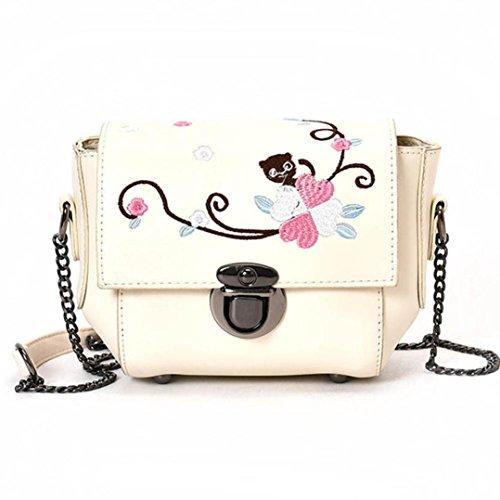 JERFER Retro Female Einfache Blumentasche Umhängetasche Schultertasche Handtasche Cremefarbig