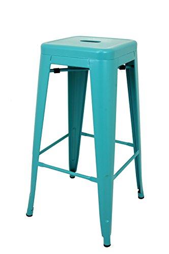 La Chaise Espagnole - Tabouret de style Tolix, Bleu Turquoise, 76x43x43
