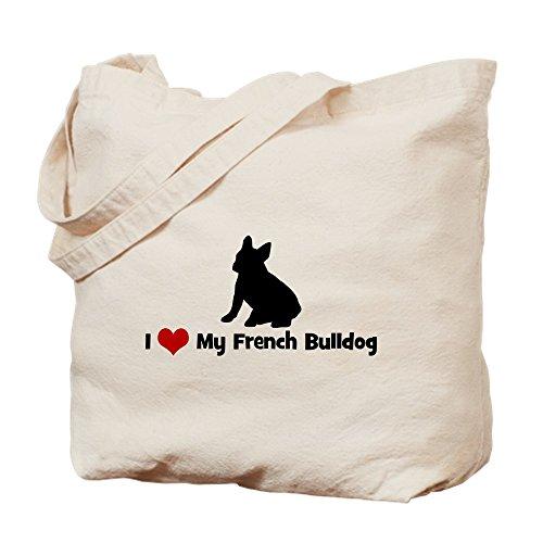 CafePress-I Love My Bouledogue français Sac fourre-tout Naturel-Sac en toile, tissu, Sac de courses Cabas S kaki