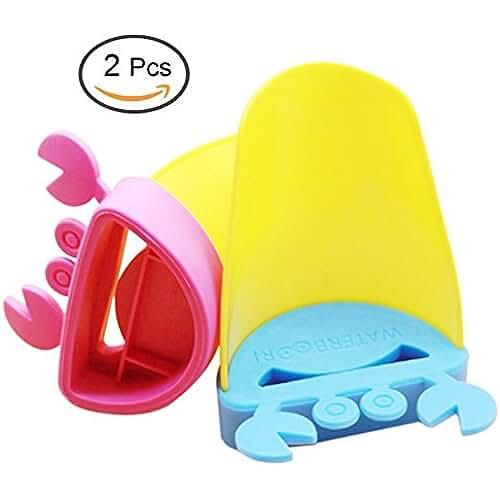 juguetes kawaii Los mejores regalos de Kawaii de la historieta del cangrejo Forma grifo del fregadero de la manija Extensores - Extender baño grifo del fregadero del recipiente Extender para niños pequeños, niños, bebés - Hacer que se aman el lavado de manos - Durable y montaje seguro grifo de Extensión (2pcs)