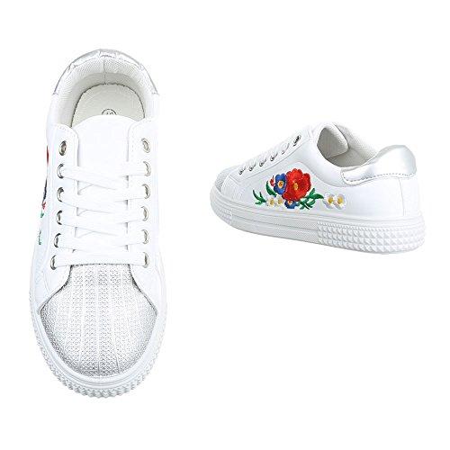 Damen Freizeitschuhe Schuhe Sportschuhe Turnschuhe Sneaker Laufschuhe Gold Pink Weiß 36 37 38 39 40 41 Weiß