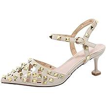 JYshoes Leder Riemchen Sandalen mit Nieten Cut Out Sommer Schuhe Damen Kleiner Absatz Schuhe